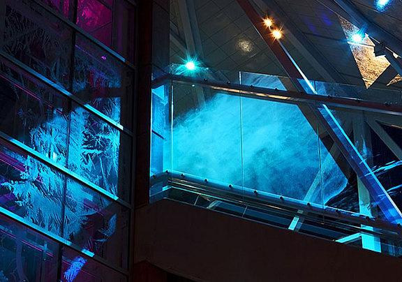 Laser design on laminated glass at night