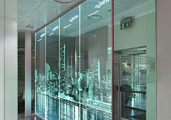 Glass wall with LED light and laser