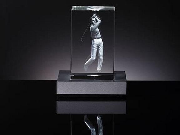 Laser crystal trophy
