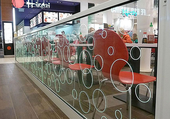 Glass partition with laser engraving