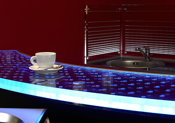 Glass counter with LED