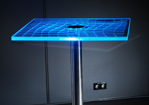 Glass bar table with LED